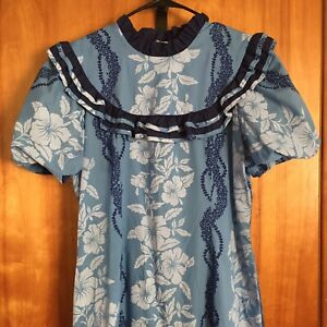 Vintage JaneM Jane M Hawaii Muumuu Hula Long Size 12 Blue White