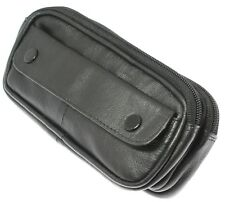 c25d5540aaff Soft Black Lambskin Leather Double Spectacle Case Holder With Belt Loop
