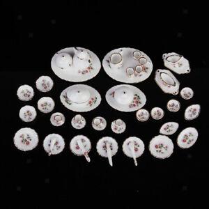 MagiDeal 50pcs Dollhouse Miniature Dining Ware Porcelain Tea Set Dish Plate