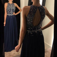 Sexy Backless Beaded Prom Dresses Long Formal Wedding Evening Party Pageant Gown