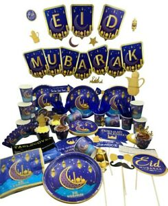 Eid Mubarak Ramadan Balloon Banner Plates Napkins Boxes Cups Party Decoration