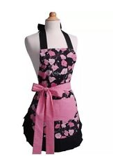 NEW Flirty Apron Women's 100% Cotton Midnight Bloom Pink Black Floral One size