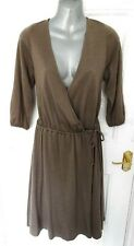TOAST 10 Mushroom Beige Stretchy Wrap Dress 100% Wool Elastic Waist Lagenlook