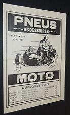 RARE PUBLICITE CATALOGUE MOTO PNEUS ET ACCESSOIRES PARIS 1931 TARIF