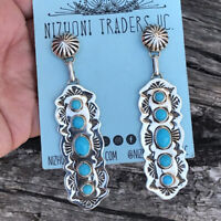 Vintage Women 925 Silver Turquoise Long Earrings Ear Hook Dangle Drop Party
