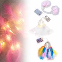 20 LED flauschige Feder Fairy Lichterketten Hochzeit Xmas Haus Dekor Licht DIY