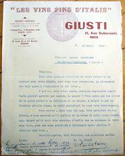 Italian Wine 1936 Letterhead: Les Vins Fins d'Italie Gusti - Nice,  France