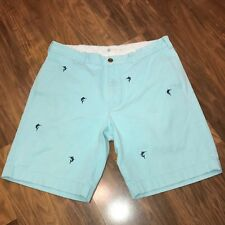 Mens 33 J.CREW Light Blue SWORDFISH Critter BROKEN-IN Chino Khaki cotton shorts