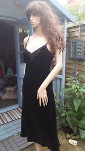 Vintage Laura Ashley Size 10 Silk Velvet Gothic Style Midi Length Dress