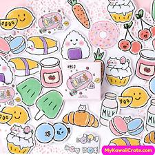 Kawaii Picnic Snacks Stickers ~ Cartoon Food Stickers, Cute Planner Sticker Set