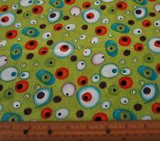 1 yard of EEK MONSTERS EYEBALLS on LIME GREEN 100% Cotton Fabric