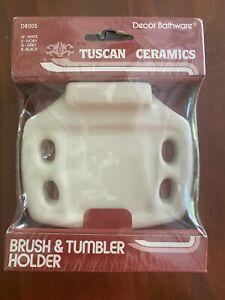 VTG Ivory Ceramic Toothbrush Tumbler Cup Holder Wall Mount NOS Retro USA