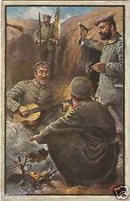 1. Weltkrieg, Musik im Schützengraben, Patriotika, Feldpost-Ak sign. Heubach