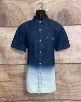 Tommy Hilfiger Demin Ombre Shirt Button Up Short Sleeve Size XL Blue White