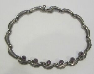VINTAGE MEXICO STERLING SILVER AND AMETHYST NECKLACE 4.3 OZ.