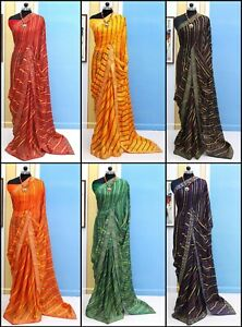 Saree Ethnic Georgette Sari Indian Wedding Designer Traditional New Party Wear