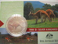 1998 SILVER KANGAROO 1OZ SILVER COIN IN PACK