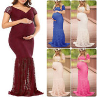 Women Pregnant Chic Lace Maxi Dress Photography Props Gown Maternity Party Prom