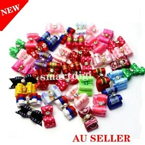 20/50 Mixed Small Dog Pet Puppy Cat Hair Accessory Bows Rubber Bands Grooming A