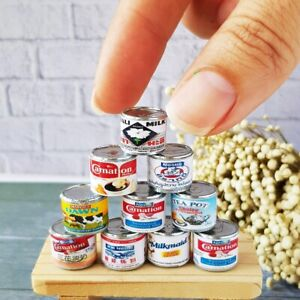 Dollhouse Miniatures Milk Canned Assorted 1:12 Food Cans Supply Decor Lot x10