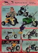 1972 ADVERT 6 PG Kid's Toy Pedal Cars Mini Bike Road Runner Go Cart Murray Tract