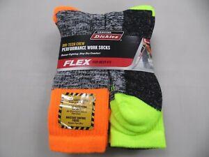Dickies Dri-Tech Hi-Vis 6 Pairs Crew Socks Yellow/Orange/Black Men's Size 6-12