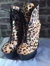 Opening Ceremony X Chole Sevigny Platform Heels Pony Hair Leopard Lace Up Boots