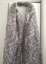 Jacobean Print Gray & Silver 100% Silk Organza Window Scarf/Table Runner - 9 Ft.