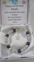 60th  Birthday Present  Ladies Girls Charm bracelet and personalised boxed