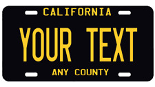 California CA Black YOUR TEXT  Personalized Custom  Aluminum License Plate AUTO