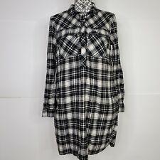 J.Crew Flannel Shirt Dress Plaid Size Medium Half Button Tunic Top Black & White