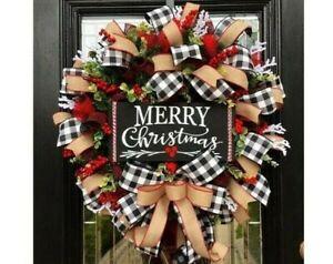 Christmas Wreath Door Decor Front Tree Hanging Garland Wall Festival Xmas Window