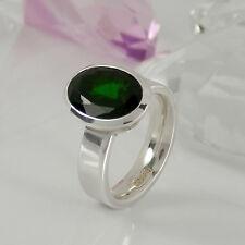 Ring 925 Silber mit 1 sehr schönem Chromdiopsid dunkelgrün Edelstein NEU Gr. 56