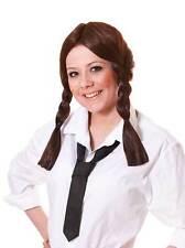 Schoolgirl Wig.  Brown, One Size Fancy Dress Wig #AU