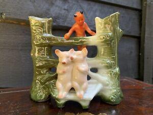 Antique Victorian Pink Pigs Spill Vase Devil German Fairing Souvenir Porcelain