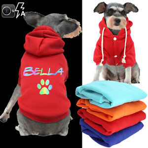 Custom Dog Hoodie Sweatshirt Personalised Puppy Pet Clothes with Name Vest Coat