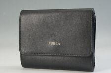Authentic FURLA Bi-Fold Wallet Black Leather w/coin purse Free Ship 117f29