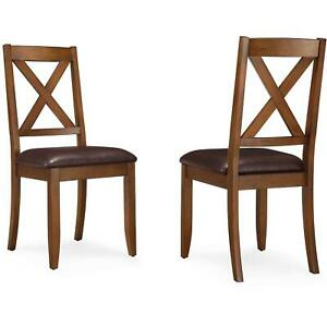 Dining Room Chairs Cross Back Farmhouse Rustic Kitchen Padded Solid Wood Set 2