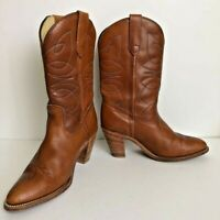 Frye Womens Western Cowboy Boots Brown Leather Block Heel Pull On High 8.5 B