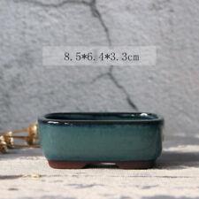 Rectangular Chinese Yixing Mame Bonsai Pot Dark Green Glazed 8.5x6.4x3.3cm