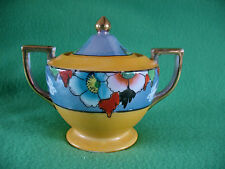 Vintage SUGAR BOWL W/Decorative Blue Bands Lusterware Made in Japan