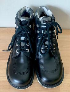 Kickers Kick Hi Camo Mens Black White Leather Ankle Boots Size UK 8 EUR 42