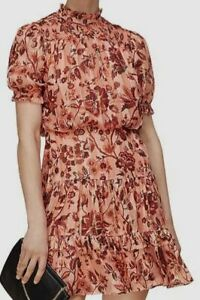 $698 Whistles Womens Pink Floral Silk Pleated Metallic Short-Sleeve Mini Dress 2