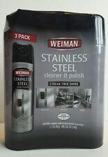 3 X Weiman Stainless Steel Aerosol Cleaner & Polish 17 oz