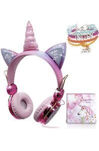 Bluetooth 5.0 Wired  Ear Headsets LED Unicorn Mic Headphones For Kids Girls US