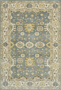 Oushak 6'x9' Blue Wool Hand-Knotted Oriental Rug