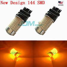 JDM ASTAR 144 SMD 3157 3156 Amber Yellow Dual Turn Signal Backup Light LED Bulbs