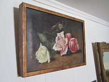 ANTIQUE AMERICAN IMPRESSIONIST FLORAL STILL STYLE OF MARTIN J HEADE OIL PAINTING