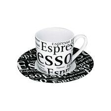 2 tlg Espresso Set Schrift auf weiß  Könitz Porzellan