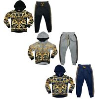 Boys Kids Tracksuit Baroque Print Jacket Joggers Jogging Bottoms Fleece